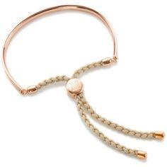 Monica Vinader Fiji Friendship Petite Bracelet (265 CAD) ❤ liked on Polyvore featuring jewelry, bracelets, accessories, eleanor, jewels, bracelet jewelry, rose jewelry, rose bracelet, nude jewelry and adjustable bangle