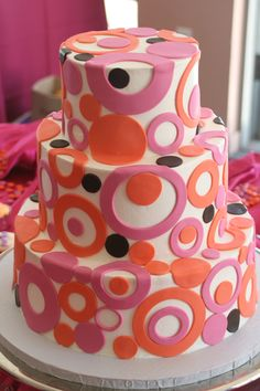 Pink, Orange, & Black Dots on a White Wedding Cake
