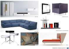 Subtle color blocking for storage indicates hidden or exposed shelving,   Sponge-y, dense fabrics have a sense of roundness - neoprene like materials for sofas and chairs. Primaries ala Mondrian: Red, white, black, and navy