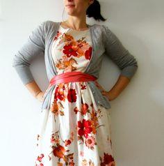 Vintage inspired tea dress - red magnolia dress bridesmaid dress. $79.00, via Etsy.