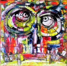 Tiki kreepy eyes Olie på lærred  (40x40) 2016 af Svend Christensen