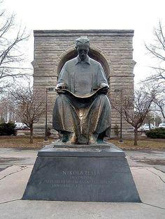 Photo of Statue of Tesla at Niagara Falls for fans of Nikola Tesla. Statue of Tesla in the State Park of Niagara Falls. The statue was a gift from Yugoslavia the U.S. in 1976.