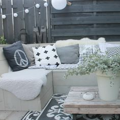 Sheepskins warm up a outside space. Decor, Furniture, Outside Room, Home Decor, Outdoor Sofa, Lounge Areas, Interior Design, Outdoor Living Furniture, Relaxing Outdoor Spaces