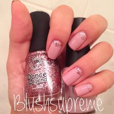 Barbie-Barbie nails with Orly and glitter by Dance Legend #nails #glitter #nailart #pinknails
