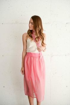 Pink silk midi skirt with bow and choker by www.shopsutie.com.