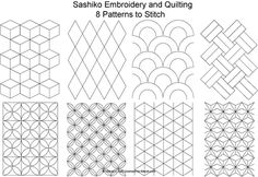 The Beginner's Guide to Sashiko Japanese Embroidery: Eight FREE Sashiko Patterns to Stitch - Set 1
