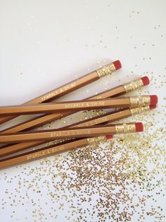 Beautiful wood engraved pencils with the text SPARKLE & SHINE in gold foil lettering. Set of 6 Pastel Pink pencils with text gold lettering:
