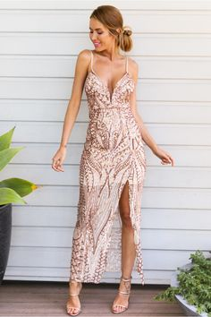 The Disco Ball Maxi Dress has spaghetti straps, a padded bust and gorgeous bronze sequin detailing. The high cut side slit adds a peekaboo touch! Style with nude heels and nude lipstick! Half lined. Cold hand wash only. Model is standar Beautiful Cocktail Dresses, Gold Cocktail Dress, Cocktail Gowns, Pretty Dresses, Evening Dresses, Prom Dresses, Wedding Dresses, Wedding Attire, Bronze Dress