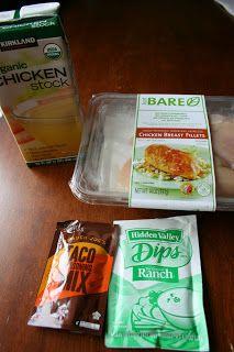 Cool Ranch Crockpot Chicken Tacos or Tostadas -