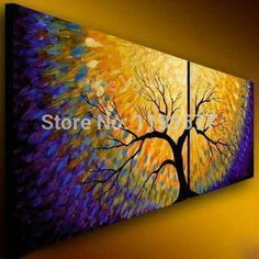 2 panel abstract modern canvas art cheap handmade decorative peacock tree colorful oil painting canvas for living room office-in Painting & Calligraphy from Home, Kitchen & Garden on Aliexpress.com | Alibaba Group