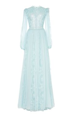 Long-sleeve Chantilly lace gown by Zuhair Murad Beautiful Gowns, Beautiful Outfits, Dress Outfits, Fashion Dresses, Chiffon Gown, Haute Couture Fashion, Pretty Dresses, Designer Dresses, Marie