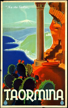 'Sicily Travel Poster of Taormina Beautiful' T-Shirt by ExpressingSelf Poster Vintage, Vintage Travel Posters, Vintage Art, Taormina Sicily, Catania Sicily, Sicily Travel, Der Plan, Beach Posters, Vintage Italy