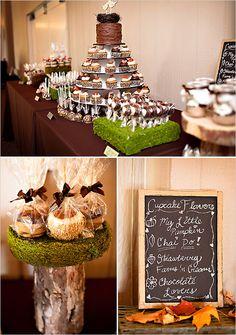 Fall dessert table. chocolate dipped pears, caramel apples, chai tea cupcakes, pumpkin spice cupcakes in mason jars, etc.