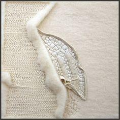 "Rebecca Howdeshell; Fragments 2; industrial felt, thread, wool felt, fragment of leather glove; 6"" x 6""; 2011. http://www.rebeccahowdeshell.com"