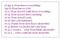 True for some, but my Mom I swear, KNOWS EVERYTHING. SHE'S A GENIUS!!