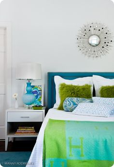 lime green, blue turquoise bedroom. love the green with teal