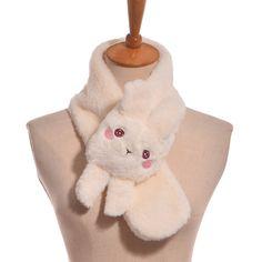 1pc Girls Cute Plush Rabbit Scarf Lolita Embroidered Winter Warm Gift