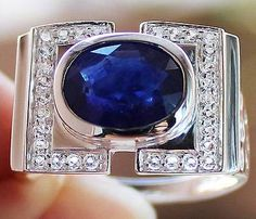 Stunning 5.85 cts Genuine Blue Sapphire & W.Topaz Ring Solid 925SS S#10.5 FS