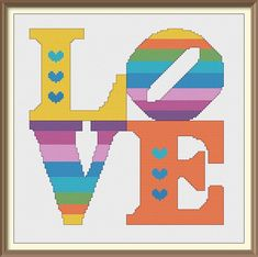 Love with Hearts in Rainbow Colors Modern Cross Stitch Pattern PDF Chart Instant Download