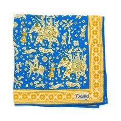 Indian Elephant Print Silk Pocket Square - Blue