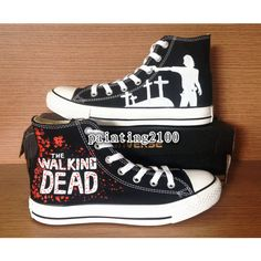 The Walking Dead Converse ,Custom Converse,Kid converse,Painted... ($86) ❤ liked on Polyvore featuring shoes