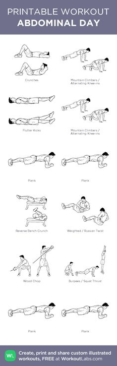 ABDOMINAL DAY–my custom exercise plan created at WorkoutLabs.com • Click through to download as a printable workout PDF #customworkout