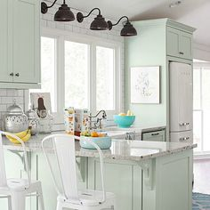 Good morning, friends! I'm still working on putting together the design plan for my friends' new-to-them farmhouse kitchen and so far I've shared some inspiring painted kitchen makeovers and four different styles of open shelving. If you didn't get a chance to read those posts already, then here is the kitchen that we are working ... Read More about 10 Stunning Farmhouse Kitchens with Coloured Cabinets