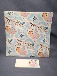 Vintage Baby Shower Wrapping Paper With Card 2 Sheets 19x25
