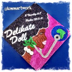 Graduation Cap Design - Hand Painted and Glitter Art - Alpha Kappa Alpha - Afro - Save The World - Big Pearls