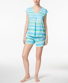 Lauren Ralph Lauren V-Neck Top and Shorts Printed Knit Pajama Set