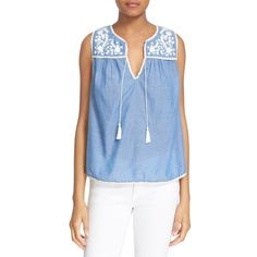 Joie 'Gavriel' Embroidered Chambray Shell ($198) ❤ liked on Polyvore featuring tops, crochet tank, embroidered tank, sleeveless shell top, shell tops and sleeveless tank