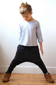 Sweet...stylish little girl pants. I want a pair, adult sized ;) / Zoe COS pants, Minnetonka fringe mocassins