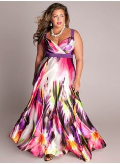Fashion Styles For Plus Sizes   Plus size Tropical Beauty Maxi Dress