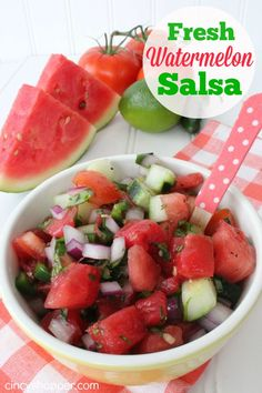 Fresh Watermelon Salsa Recipe. Great for summer. use up the left over watermelon in a yummy salsa.