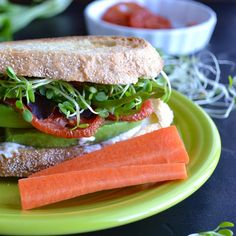 The Totally Awesome Sandwich - this completely veggie sandwich could not be more delicious or satisfying…filled with tomatoes, avocado, sprouts and a zesty topping! Avocado Recipes, Lunch Recipes, Whole Food Recipes, Sandwich Recipes, Veggie Sandwich, Soup And Sandwich, Paninis, Vegan Vegetarian, Vegetarian Recipes