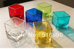Free shipping!2pcs/lot Glass shining candle holder transparent color hand-made lantern house or party decoration 6color US $8.50