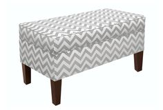 One Kings Lane - Furniture Under $300 - Arthur Storage Bench, Gray Zig Zag