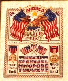 It's a Grand Old Flag  Counted Cross Stitch Pattern Book     Designed by Linda Gillum  for  American School of Needlework    New   Unused Pattern Book  Mint Condition    Vintage  Collectible from 1990     This Counted Cross Stitch  Pattern book   has 17 pages with 9 projects  to make, includes Pledge of Allegiance  Sampler,  American Sampler,  Patriotic Flag Alphabet  blanket,