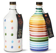 Extra-virgin olive oil in hand-painted bottles.Give beautiful bottles of olive oil instead of wine. Olive Oil Packaging, Cool Packaging, Packaging Design, Olive Oil Jar, Olive Oil Bottles, Olive Oils, Bottle Painting, Bottle Art, Bottle Crafts
