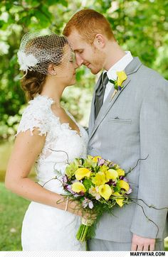 Sarah + Geoffrey http://marywyar.com  Bascom wedding  yellow flowers, grey wedding, outdoor ceremony