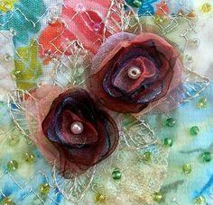 Organza flowers   fabric art card  beaded card by StitchMikki, $6.00