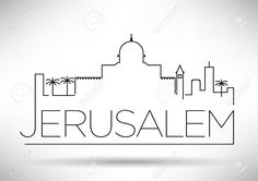 Jerusalem City Line Silhouette Typographic Design Royalty Free ...