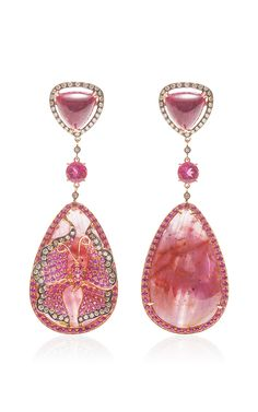 Pink Droplet Earrings, Rhodolite garnets, rubies, pink sapphires and champagne diamonds. by WENDY YUE for Preorder on Moda Operandi Pink Jewelry, Jewelry Accessories, Jewelry Design, Druzy Jewelry, Butterfly Earrings, Jewellery Earrings, Pink Earrings, Drop Earrings, Diamond Earrings
