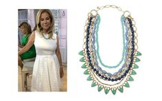 Kathie Lee Gifford: Wearing Our Sutton Necklace - Green Stone.  Get the look here:  www.stelladot.com/sarahtaliaferro
