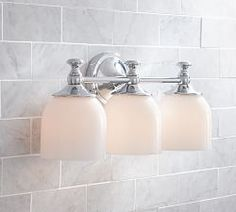 Bathroom Light Fixtures Pottery Barn hayden hardwired triple sconce, satin nickel finish | traditional