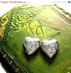 ON SALE Adorable Heart Shaped Box Secret Locket Charm Earrings by hoolala, $14.63