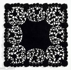 """8"""" inch Square Black Paper Lace Doilies Craft ★canada★ Lacy Doily 10 PCS★ Goth 