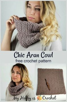 Easy Crochet Patterns Chic Aran Cowl - free crochet pattern from My Hobby is Crochet - This round crochet cowl is featuring a beautiful aran pattern. You'll work the cowl sideways, in rows, back and forth, than sew the ends together to form a tube. Crochet Cowl Free Pattern, Knitting Patterns Free, Free Crochet, Crochet Patterns, Scarf Patterns, Knitted Cowl Patterns, Knitting Tutorials, Afghan Patterns, Free Knitting