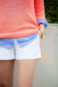 Bright pullover and chambray button up.