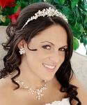 Keshi Pearl and Rhinestone Bridal Tiara